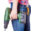 Worker stands with tools — Stock Photo #46998327