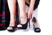 Change shoes woman — Foto de Stock