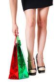 Chica con paquetes — Foto de Stock