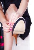 Cambiare donna scarpe — Foto Stock