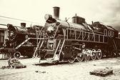 Retro old train locomotives — Stockfoto