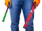 Män händer med verktyg — Stockfoto