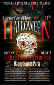 Halloween Horror Party flyer with a lot of themed elements — Stock Vector