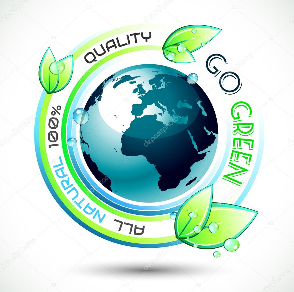 Ecology Green conceptual background with green related slogan, 3D earth and stunning wet leaves. Ideal for environmental eco related posters.  Stock Vector #12629447