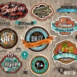 Set of Premium Quality Vintage Labels - Stock Vector