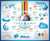 Infographic με σύννεφο υπολογιστών έννοια — Διανυσματικό Αρχείο