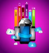 Infographie avec concept informatique nuage — Vecteur