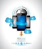 Cloud computing sfondo concetto — Vettoriale Stock