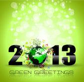 2013 生态绿色为主题的问候新年海报 — 图库矢量图片