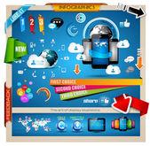 Infografía con el concepto de cloud computing — Vector de stock