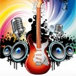 Electric Guitar Music Background - Stock Vector