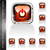 Multimedia Player Icons set — Stock Vector