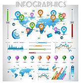Infographic elemanları - kağıt etiketleri ayarla — Stok Vektör