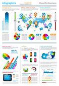 Infographic στοιχεία - συνόλου ετικετών χαρτί — Διανυσματικό Αρχείο