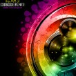 Disco club flyer with big speakers — Imagens vectoriais em stock