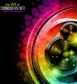 Disco club reklamblad med stora högtalare — Stockvektor