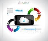 クラウドのコンセプトとインフォ グラフィック デザイン テンプレート — ストックベクタ