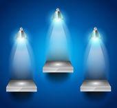 Shelves with 3 LED spotlight — Stock Vector