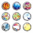 Set of nine fantasy bottle caps — Stock Vector