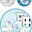 Sea Park Design Elements — Stock Vector