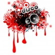 Royalty-Free Stock Imagem Vetorial: Musical Red LIquid Drops Frame