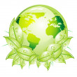 Royalty-Free Stock Vector Image: Green Glossy World Icon