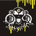 Skull music background — Stock Vector