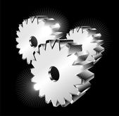 3D gears isolated — Stock Vector