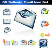 3d e-mails-icon-set — Stockvektor