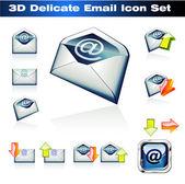 3d e-mails-icon-set — Stockvektor