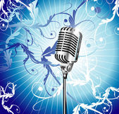 Old Microphone Music Background — Stock Vector
