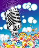 Retro microphone in the Blue sky - JPG — Stock Vector
