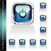 Multimedia Player Icons set — Vector de stock