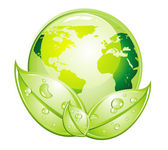 Green Glossy World Icon — Stock Vector