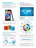Infografía moderna con un smartphone de pantalla táctil — Vector de stock