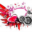Music and Love background — Stock Vector