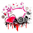 Stock Vector: Love and music background