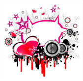 Love and music background — Stock Vector