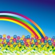 Royalty-Free Stock Vector Image: Daisy Flowers Rainbow Background
