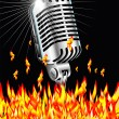 Flaming microphone - Stock Vector