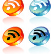 Stock Vector: 3D Rss feed Icon