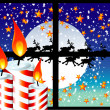 Christmas Candle Moon Light Window - Stock Vector