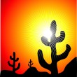 Mexican cactus landscape - Stock Vector
