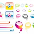 Collection of full colours web elements with glossy effect — Stock Vector #23283818