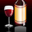 Wine Glass and bottle — Vector de stock