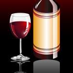 vin glas och flaska — Stockvektor