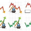Diagrams and graphic of stock going down and up. — Stockvectorbeeld