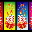 Stock Vector: Christmas Candles Banner