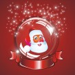 Christmas Santa snow globe — Stock Vector
