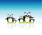 Penguins family — Stock Vector
